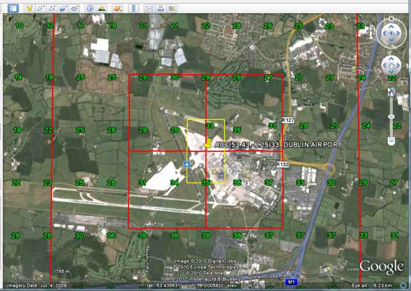 Metadata (lat/lon and radiance) for Dublin Airport