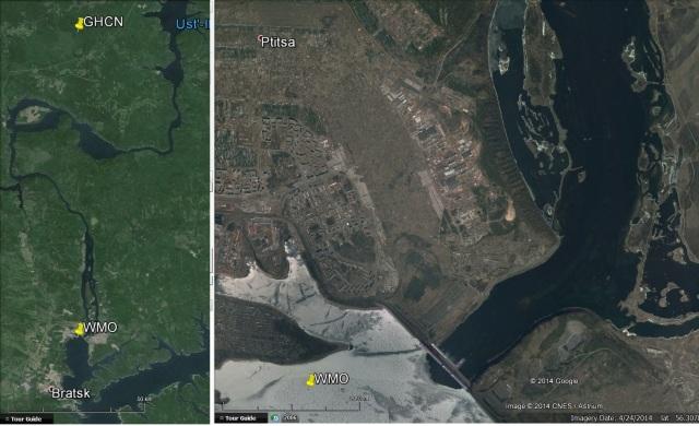 Bratsk. WMO and GHCN coordinates