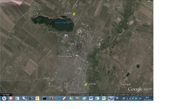 Rubcovsk location in Google Earth